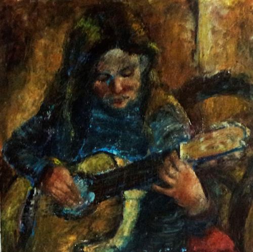 Margareta Schaeffer, MÄDCHEN m.GITARRE, Menschen: Kinder, Musik: Instrument, Impressionismus, Expressionismus