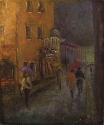 Margareta Schaeffer, REGENTAGE 2 (nach H.Hesse Gedicht), Menschen, Impressionismus, Expressionismus