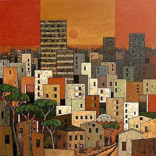 Jonny Lüpkes, Urban, Architektur, Landschaft: Berge, Gegenwartskunst, Expressionismus