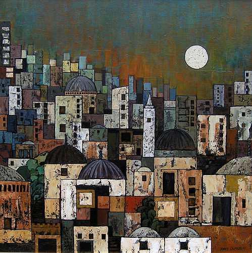 Jonny Lüpkes, Orientalische Stadt, Landschaft, Architektur, Gegenwartskunst, Expressionismus