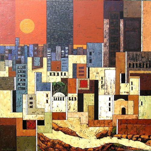 Jonny Lüpkes, Metropolis III, Landschaft, Architektur, Gegenwartskunst
