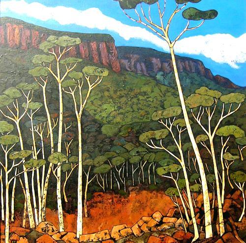 Jonny Lüpkes, Blue Mountains Landscape, Landschaft, Landschaft: Ebene, Gegenwartskunst