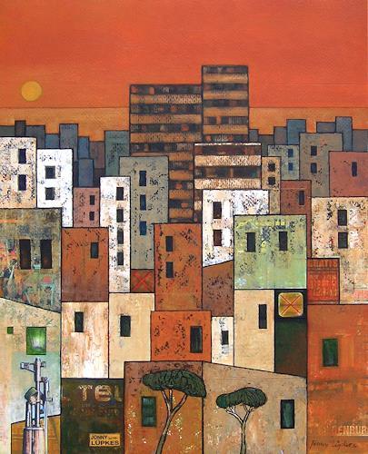 Jonny Lüpkes, The City, Architektur, Diverse Landschaften, Gegenwartskunst