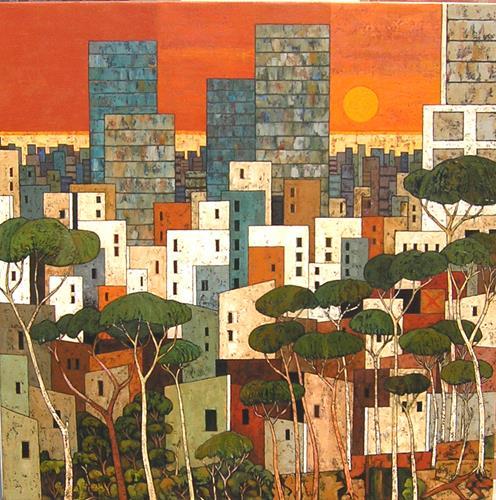 Jonny Lüpkes, cityscape, Landschaft, Architektur, Abstrakte Kunst