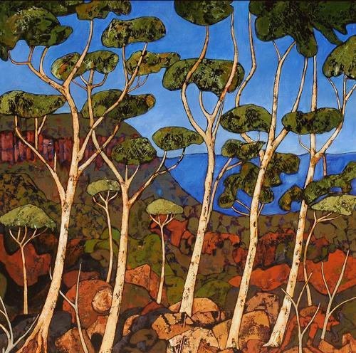 Jonny Lüpkes, Blue Mountains Landschaft, Landschaft, Landschaft, Abstrakte Kunst