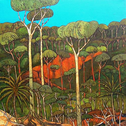 Jonny Lüpkes, Blue Mountains Landschaft, Landschaft: Berge, Landschaft, Gegenwartskunst