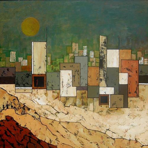 Jonny Lüpkes, Vor dem Sandsturm, Landschaft, Landschaft: Ebene, Gegenwartskunst