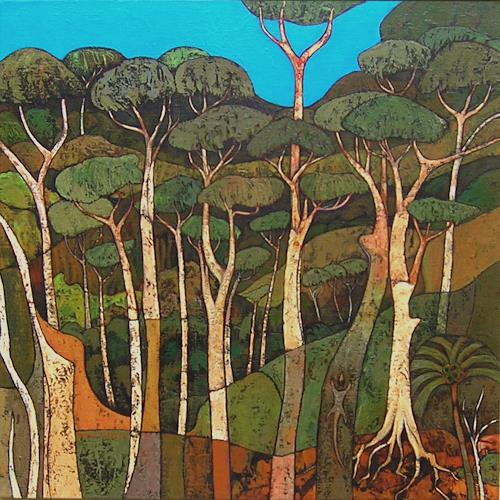 Jonny Lüpkes, Regenwald, Landschaft, Landschaft: Berge, Gegenwartskunst, Expressionismus