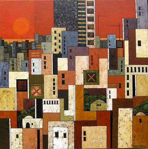 Jonny Lüpkes, Metropolis IV, Landschaft, Architektur, Gegenwartskunst