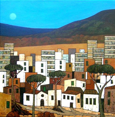 Jonny Lüpkes, Stadtlandschaft, Architektur, Landschaft, Gegenwartskunst