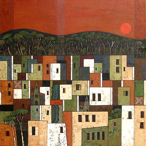 Jonny Lüpkes, Stadtlandschaft, Landschaft, Architektur, Gegenwartskunst