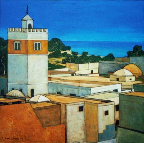 Jonny Lüpkes, Medina in Hammamet, Landschaft, Bauten, Moderne, Expressionismus