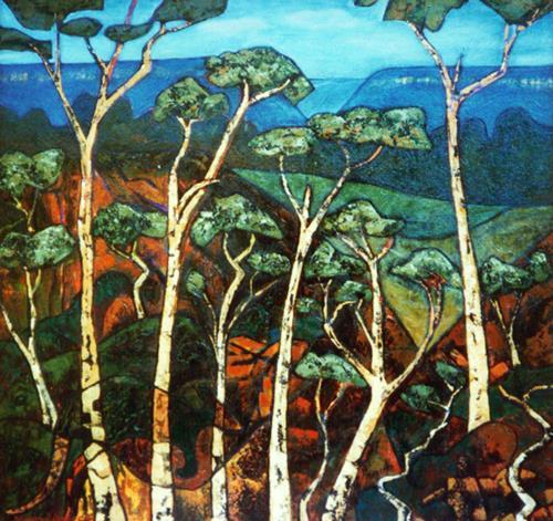 Jonny Lüpkes, .Blue Mountains NSW, Landschaft, Landschaft: Berge, Gegenwartskunst