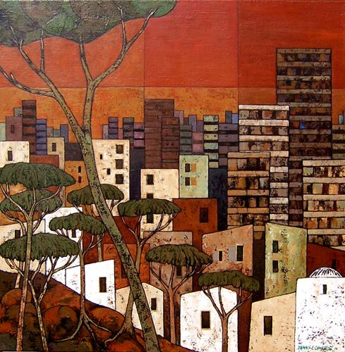 Jonny Lüpkes, Stadtlandschaft, Landschaft: Ebene, Landschaft, Gegenwartskunst