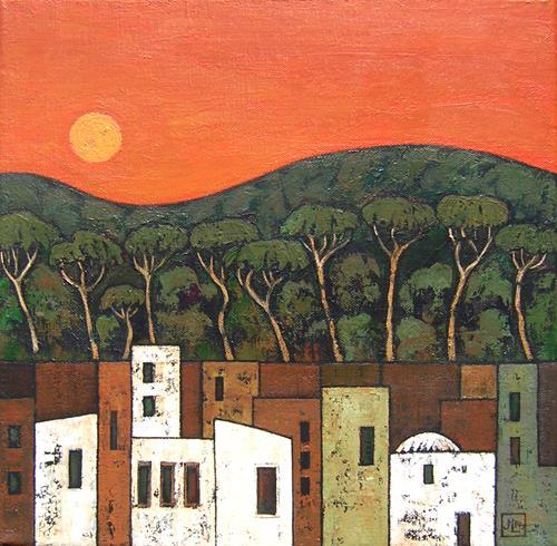 Jonny Lüpkes, Urban Landscape, Landschaft: Hügel, Architektur, Gegenwartskunst, Expressionismus