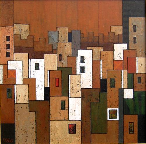 Jonny Lüpkes, Cityscape (Rabatt), Landschaft, Abstraktes, Gegenwartskunst, Expressionismus