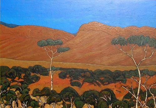 Jonny Lüpkes, Landschaft in Südaustralien, Landschaft, Landschaft: Berge, Gegenwartskunst, Expressionismus