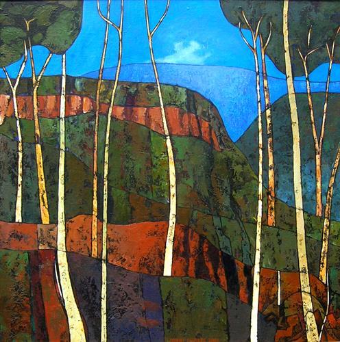 Jonny Lüpkes, Blue Mountains Landscape NSW, Landschaft, Natur, Gegenwartskunst, Expressionismus