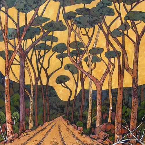 Jonny Lüpkes, Road to Moree ( N S W ), Landschaft, Natur, Gegenwartskunst, Expressionismus