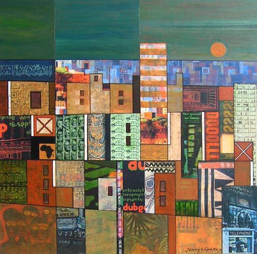 Jonny Lüpkes, Collage, Abstraktes, Fantasie, Gegenwartskunst, Expressionismus