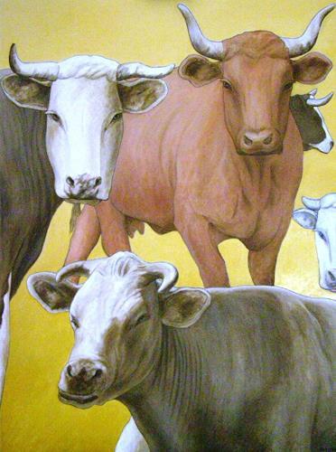 José García y Más, Cows / Kühe, Markt, Tiere: Land, Gegenwartskunst, Expressionismus