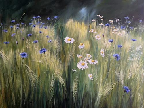 Rebecca Henkel, Frühsommer-Wiese, Pflanzen: Blumen, Landschaft: Sommer, Realismus, Expressionismus