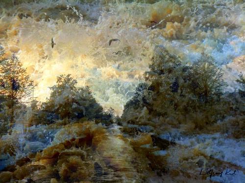 Wolfgang Karl, The Threat, Landschaft: Winter, Gefühle: Angst, Gegenwartskunst, Abstrakter Expressionismus
