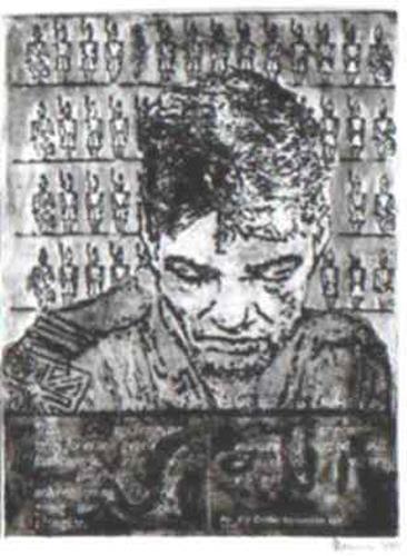 """Juergen Schmitt, DIE BALLADE VOM SOLDATEN"""":  Radierung,Collage, keine Auflage Unikat( nach Max Ernst), Krieg, Menschen: Gesichter"""