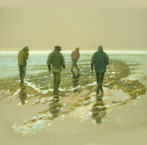 Uwe Thill, Spurensuche nach Rungholt, Menschen: Gruppe, Landschaft: See/Meer, Abstrakte Kunst, Expressionismus