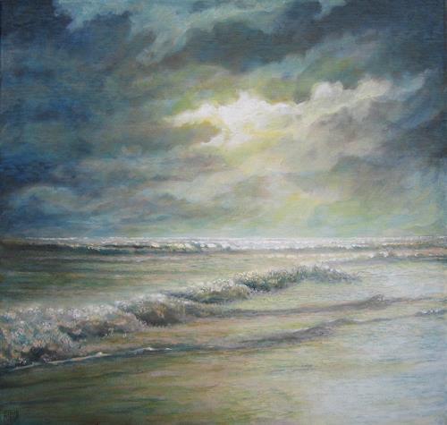 Uwe Thill, Sommernacht im Norden, Landschaft: See/Meer, Natur: Wasser, Abstrakte Kunst, Expressionismus