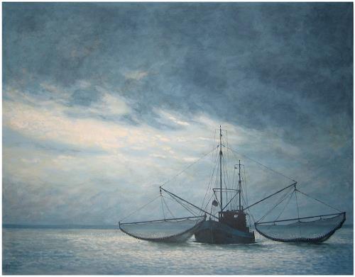 Uwe Thill, Krabbenfischer, Landschaft: See/Meer, Verkehr: Schiff, Realismus, Expressionismus