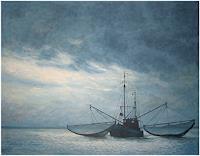 Uwe-Thill-Landschaft-See-Meer-Verkehr-Schiff-Neuzeit-Realismus
