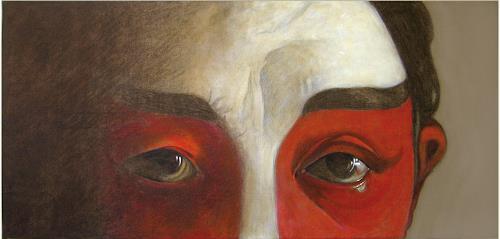 Uwe Thill, So ist das Leben sagte der Clown mit Tränen in den Augen und schminkte sich ein Lächeln ins Gesicht, Menschen: Mann, Menschen: Porträt, Gegenwartskunst, Abstrakter Expressionismus