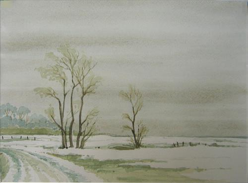 Uwe Thill, An der Flensburger Förde 1, Landschaft: Winter, Landschaft: Ebene, Gegenwartskunst