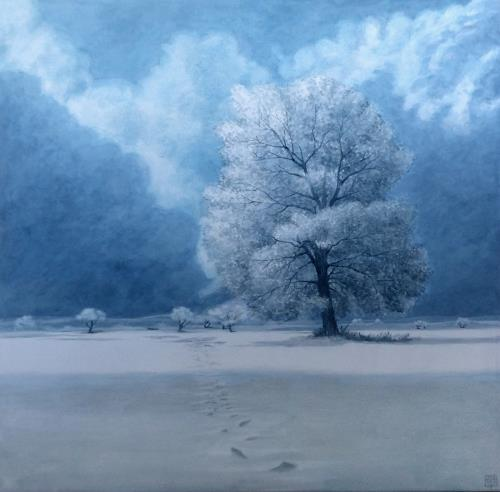 Uwe Thill, Winterruhe, Landschaft, Landschaft: Winter, Gegenwartskunst, Expressionismus
