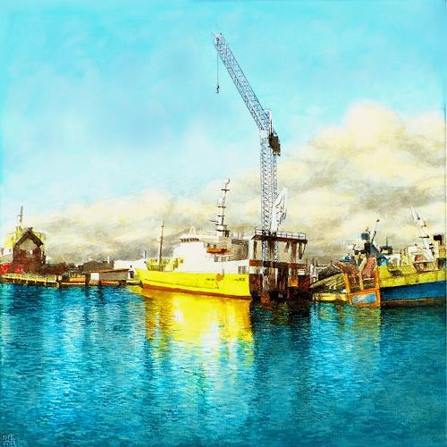 Uwe Thill, Hafen von Skagen, Landschaft, Industrie, Gegenwartskunst