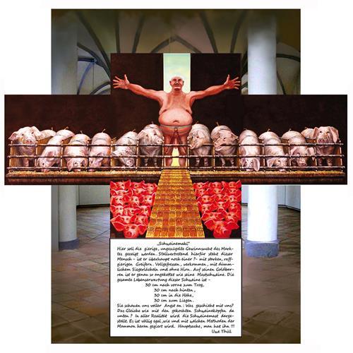 Uwe Thill, Schweinemahl, Menschen: Mann, Tiere, Gegenwartskunst, Abstrakter Expressionismus