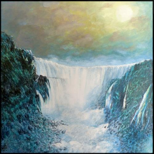 Uwe Thill, Verweilen am Wasserfall, Landschaft, Landschaft: Herbst, Gegenwartskunst, Expressionismus