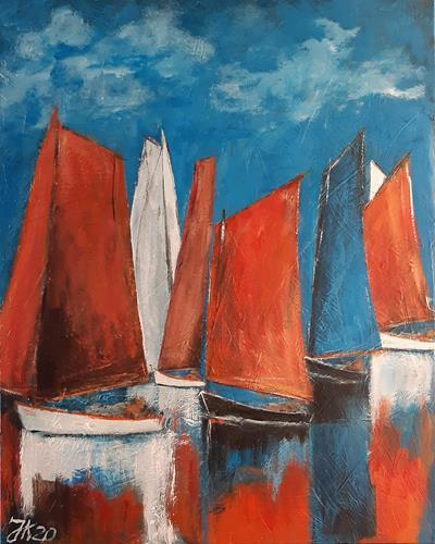 Jürgen Kühne, rote segel 1, Sport, Gegenwartskunst, Expressionismus