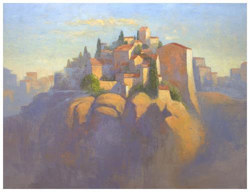 Stefan Ambs, Morgenstadt 2, Landschaft: Hügel, Diverse Landschaften, Realismus