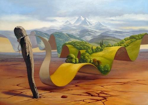 Stefan Ambs, Der Traum der Wüste, Landschaft: Berge, Natur: Diverse, Postsurrealismus, Expressionismus