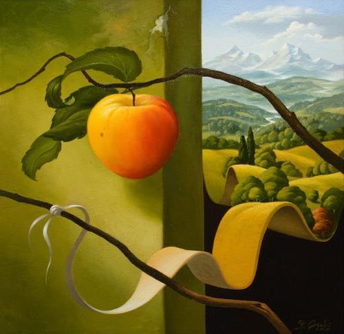 Stefan Ambs, Die Entstehung 2, Landschaft: Berge, Natur: Diverse, Postsurrealismus, Expressionismus