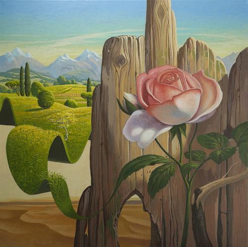 Stefan Ambs, Kampf der zwei Welten, Landschaft: Hügel, Pflanzen: Blumen, Symbolismus, Expressionismus