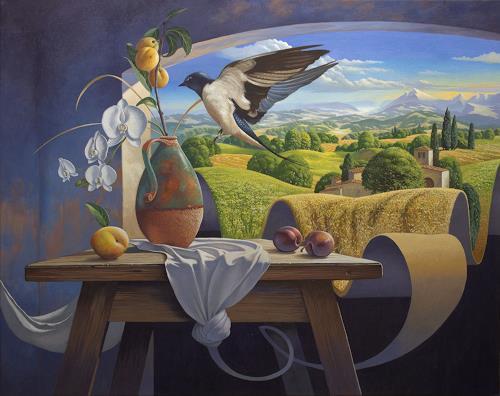 Stefan Ambs, Die Entstehung 5, Landschaft: Hügel, Tiere: Luft, Realismus, Expressionismus