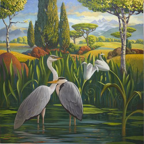 Stefan Ambs, Rastende Reiher, Landschaft: Berge, Tiere: Wasser, Realismus