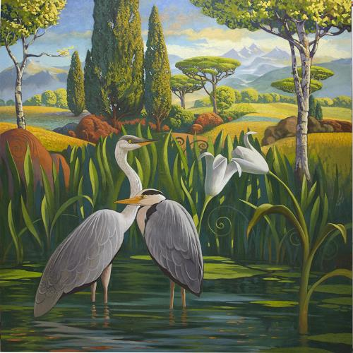 Stefan Ambs, Rastende Reiher, Landschaft: Berge, Tiere: Wasser, Realismus, Expressionismus