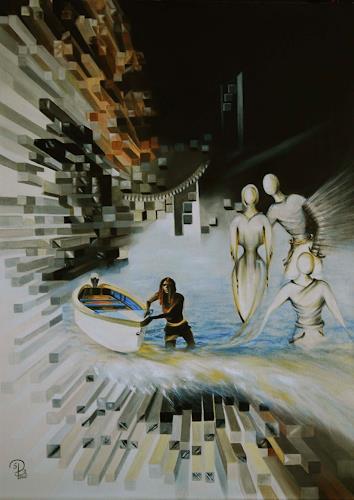 Susanne Pfefferkorn, Das leere Boot, Menschen, Situationen, Postsurrealismus, Abstrakter Expressionismus