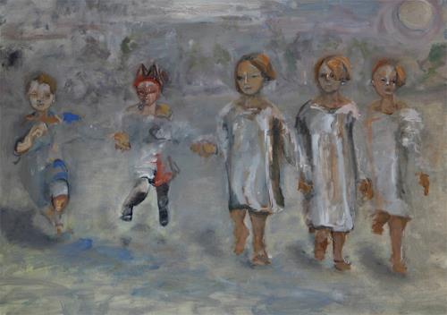 Iris Alvarenga, Mondschein, Menschen: Kinder, Gegenwartskunst, Abstrakter Expressionismus