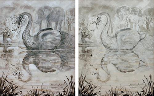 (Uli) Hans Ulrich Aschenborn, D: Zwei Elefanten oder Schwan | GB: Two elephants or swan, Tiere: Land, Tiere: Wasser, Naturalismus