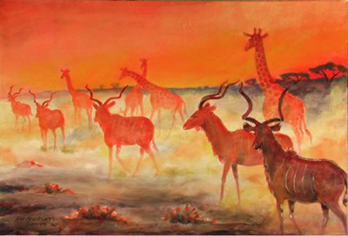(Uli) Hans Ulrich Aschenborn, Kudus und Giraffen im Abendrot - Kudus and giraffes at sundown, Tiere: Land, Abstrakte Kunst